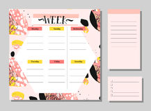 Scandinavian Weekly and Daily Planner Template. Organizer and Schedule with Notes and To Do List. Vector.  Stock Photos