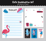 Scandinavian Weekly and Daily Planner. Template. Organizer and Schedule with Notes and To Do List. Vector. Isolated. Holiday Summer Concept with Graphic Design Stock Image