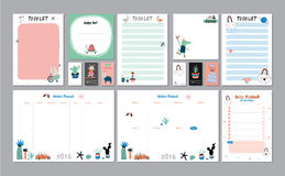 Scandinavian Weekly and Daily Planner. Template. Organizer and Schedule with Notes and To Do List. Vector. . Trendy Holiday Summer Concept with Graphic Design Stock Images