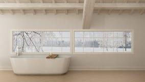 Scandinavian white bathroom, loft minimalistic design. Scandinavian white bathroom, loft minimalistic interior design Royalty Free Stock Image