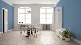 Scandinavian white and blue dining room, wooden herringbone parquet floor, table and chairs, windows, door and radiators. Pendant. Lamps. Modern furniture vector illustration
