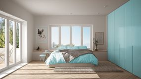 Scandinavian white and blue minimalist bedroom with panoramic window, fur carpet and herringbone parquet, modern pastel architectu. Re interior design vector illustration