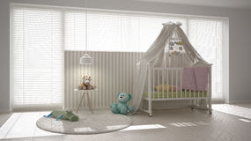 Scandinavian white child bedroom with canopy crib, minimal inter Stock Image