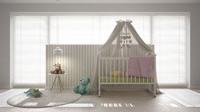 Scandinavian white child bedroom with canopy crib, minimal inter Royalty Free Stock Photography