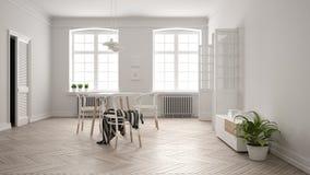 Scandinavian white dining room, wooden herringbone parquet floor, table and chairs, two big windows, door and radiators. Pendant. Lamps. Modern furniture vector illustration