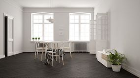 Scandinavian white and gray dining room, wooden herringbone parquet floor, table and chairs, windows, door and radiators. Pendant. Lamps. Modern furniture stock illustration
