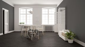 Scandinavian white and gray dining room, wooden herringbone parquet floor, table and chairs, windows, door and radiators. Pendant. Lamps. Modern furniture vector illustration