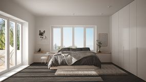 Scandinavian white and gray minimalist bedroom with panoramic window, fur carpet and herringbone parquet, modern architecture inte. Rior design royalty free illustration