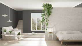 Scandinavian white and gray minimalist living with bedroom, open Royalty Free Stock Image