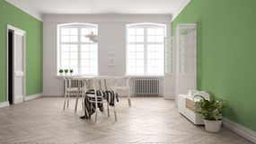 Scandinavian white and green dining room, wooden herringbone parquet floor, table and chairs, windows, door and radiators. Pendant. Lamps. Modern furniture royalty free illustration
