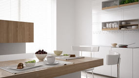 Scandinavian white kitchen with breakfast close up, minimalistic. Interior design Stock Photo