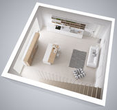 Scandinavian white kitchen, minimalistic interior design, cross. Section, top view Stock Images