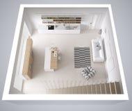 Scandinavian white kitchen, minimalistic interior design, cross. Section, top view Stock Photos