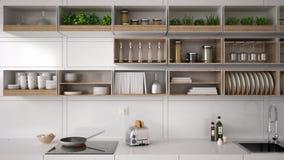 Scandinavian white kitchen, shelving system, minimalistic. Interior design Royalty Free Stock Photo