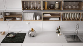 Scandinavian white kitchen, shelving system, minimalistic Stock Images