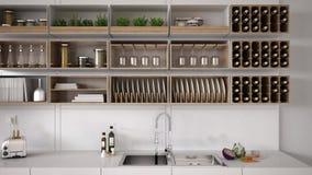 Scandinavian white kitchen, shelving system. Minimalistic interior design Stock Photography