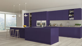 Scandinavian white kitchen with wooden and purple details, minim Stock Photo