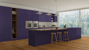 Scandinavian white kitchen with wooden and purple details, minim Royalty Free Stock Images