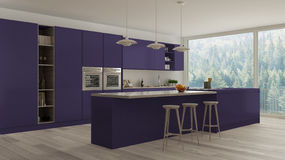 Scandinavian white kitchen with wooden and purple details, minim Royalty Free Stock Photos