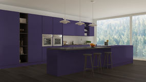 Scandinavian white kitchen with wooden and purple details, minim Stock Photography