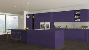 Scandinavian white kitchen with wooden and purple details, minim Royalty Free Stock Photo