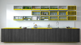 Scandinavian white kitchen with wooden and yellow details, minim Stock Photos