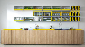 Scandinavian white kitchen with wooden and yellow details, minim Stock Images