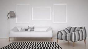 Scandinavian white living, lounge, minimalistic interior Stock Photos