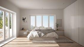 Scandinavian white minimalist bedroom with panoramic window, fur carpet and herringbone parquet, modern architecture interior desi. Gn royalty free stock photography