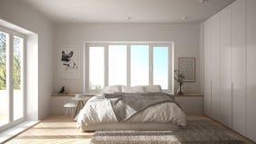 Scandinavian white minimalist bedroom with panoramic window, fur carpet and herringbone parquet, modern architecture interior desi. Gn stock images