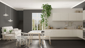 Scandinavian white minimalist living with kitchen, open space, o. Ne room apartment, modern interior design Stock Image