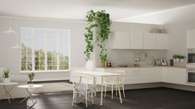 Scandinavian white minimalist living with kitchen, open space, o. Ne room apartment, modern interior design Stock Images