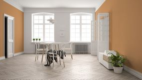 Scandinavian white and orange dining room, wooden herringbone parquet floor, table and chairs, windows, door and radiators. Pendant lamps. Modern furniture royalty free illustration