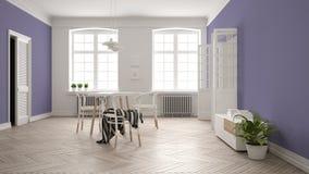 Scandinavian white and purple dining room, wooden herringbone parquet floor, table and chairs, windows, door and radiators. Pendant lamps. Modern furniture vector illustration
