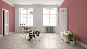 Scandinavian white and red dining room, wooden herringbone parquet floor, table and chairs, windows, door and radiators. Pendant. Lamps. Modern furniture royalty free illustration
