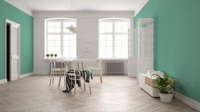 Scandinavian white and turquoise dining room, wooden herringbone parquet floor, table, chairs, windows, door and radiators. Pendant lamps. Modern furniture stock illustration