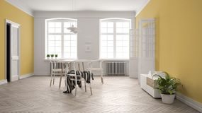 Scandinavian white and yellow dining room, wooden herringbone parquet floor, table and chairs, windows, door and radiators. Pendant lamps. Modern furniture vector illustration