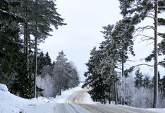 Scandinavian winter road Royalty Free Stock Images