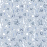 Scandinavian winter. Vector seamless pattern with northern trees and white hares. Blue fabric design. Royalty Free Stock Photography
