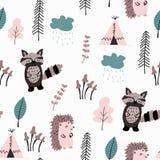 Scandinavian Woodland seamless pattern. vector illustration