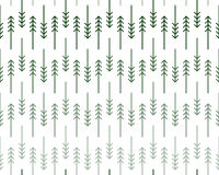 Scandinavian Zigzag Fir and Pine Trees Pattern. Scandinavian geometric pattern with stylized linear fir and pine trees in shades of green on white background Royalty Free Stock Photos