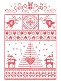 Scandinavo, modello di cucitura di Natale di inverno nordico di stile compreso i fiocchi di neve, cuori, presente, campana, stell illustrazione di stock