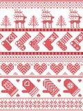 Scandinavo, modello di cucitura di Natale di inverno nordico di stile compreso i fiocchi di neve, cuori, regalo di Natale, neve,  illustrazione di stock