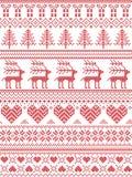Scandinavo, modello di cucitura di Natale di inverno nordico di stile compreso i fiocchi di neve, cuori, regalo di Natale, neve,  royalty illustrazione gratis