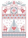 Scandinavo, modello di cucitura di Natale di inverno nordico di stile compreso i fiocchi di neve, cuori, regalo di Natale, neve,  illustrazione vettoriale