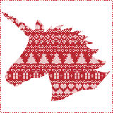 Scandinavo, modello senza cuciture di cucitura di Natale di inverno nordico di stile compreso i fiocchi di neve, cuori, presente, Fotografia Stock Libera da Diritti