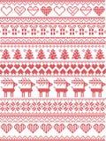 Scandinavo, modello senza cuciture di cucitura di Natale di inverno nordico di stile compreso i fiocchi di neve, cuori, regalo di illustrazione di stock