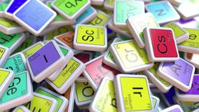 Scandium blok op de stapel van periodieke lijst van de chemische elementenblokken stock illustratie