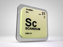 Scandium - Sc - chemical element periodic table. 3d render Royalty Free Stock Photography
