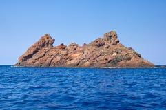 Scandola自然保护,联合国科教文组织世界遗产名录站点,可西嘉岛, Fr 免版税库存照片